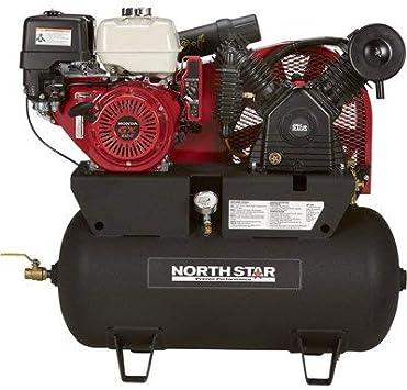 NorthStar Portable Gas Powered Air Compressor - Honda GX390 OHV Engine, 30-Gallon Horizontal Tank, 24.4 CFM at 90 PSI: image