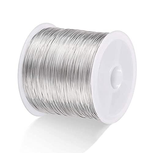 TSLBW Filo di Rame per la Produzione di Gioielli 0,4 mm Filo Artigianale Perline Gioielli Braccialetti Collane Forniture Realizzazione di Anelli Filo Fai-da-Te, 100 Metri Silver
