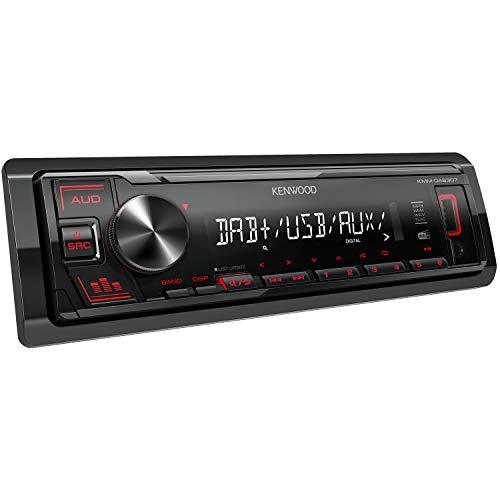 Kenwood KMM-DAB307 - Usb-Autoradio Con DAB Fm (Procesador Sonido, USB, Aux, 4x50 Vatios, Iluminación de Teclado Rojo, Incl. DAB+ Antena)