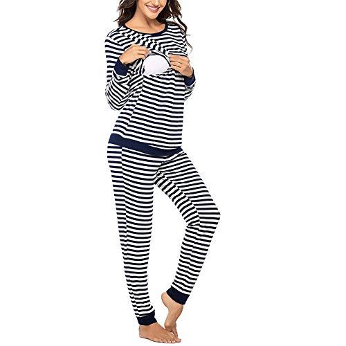 Damen Umstandspyjama Stillpyjama Winter Streifen Pyjama Schwangerschaft Set Langarm Stillshirt und Lang Hosen Schlafanzug Stillfunktion Hausanzug