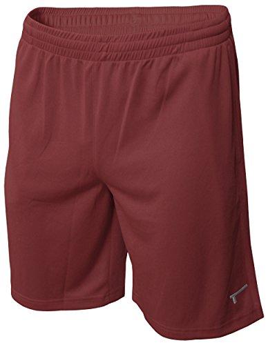 TREN Herren COOL Polyester Mesh Performance Short Sporthose mit Seitentaschen Maroon 610 - M