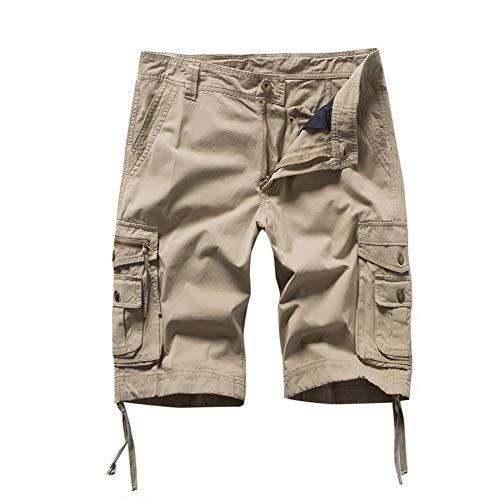 Xmiral Shorts Herren Reißverschluss Overall Streifen Kurze Hose Mit Taschen Sports Hose Training Shorts Fitness Beachshorts(Gelb,XL)