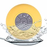 MARSPOWER Altavoz inalámbrico Bluetooth Portátil Ipx8 Altavoz de Ducha Impermeable Manos Libres Micrófono de succión Baño del Coche Dispositivos de Audio inalámbricos Bluetooth - Amarillo
