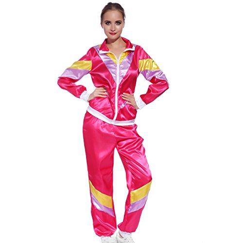 Anladia 80er Jahre Retro Trainingsanzug Jacke und Hose 80er Jahre Assianzug Karneval Kostüm Jogginganzug Kostüm Jacke und Hose