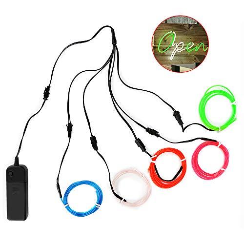 Ertisa Cable EL, tubo de luz de neón brillante de 5x1 m Luz electroluminiscente con luz estroboscópica brillante con controlador Funciona con batería para Halloween, decoración de festivales