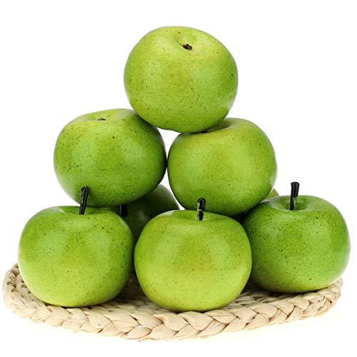 Gresorth 6 Stück Lebensechte Künstliche Grün Apfel Faux Gefälschte Apfels Früchte Obst Party Festival Dekoration