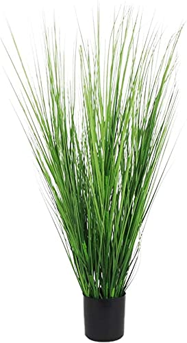 Season's Need Decor 29' Artificial Plants Onion Grass Greenery, Faux Fake Shrubs Plant, Wheat PVC Grass Plant in Black Plastic Planter for House Home Indoor-Outdoor Office Room Gardening - New