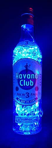 Havana Club - Flaschenlampe mit 80 LEDs Blau Upcycling Geschenk Idee