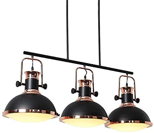 RR&LL Lámpara, Led de hierro forjado americano estilo industrial negro araña creativa sala de estudio restaurante bar iluminación interior (tamaño: 32x38CM)
