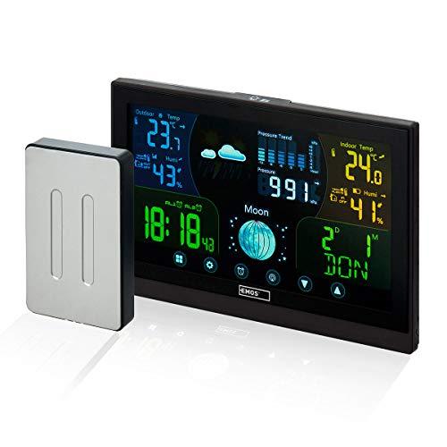 Emos Funk Wetterstation mit Touchscreen Farbdisplay, inkl. Außensensor, DCF Empfangssignal Funkuhr - Innen- und Außentemperatur, Barometer, Wettervorhersage