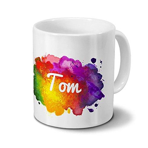 Tasse mit Namen Tom - Motiv Color Paint - Namenstasse, Kaffeebecher, Mug, Becher, Kaffeetasse - Farbe Weiß