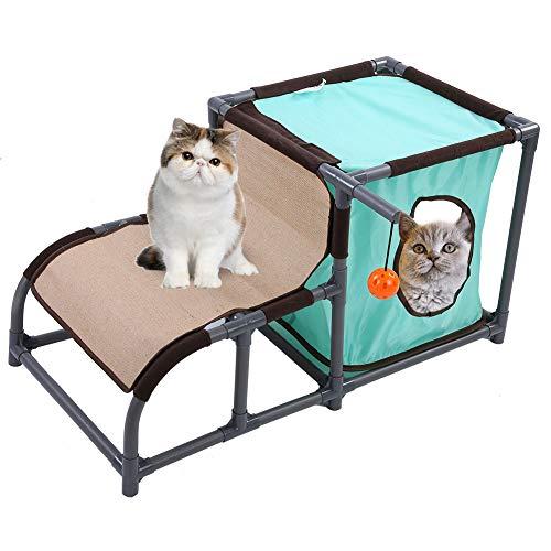 Katzenhaus Montieren Katzenkletterrahmen Abnehmbares Haustier Katzenbett DIY Kratzbaum für Katzenklettern Schlafen Spielen mit Hängendem Spielzeug