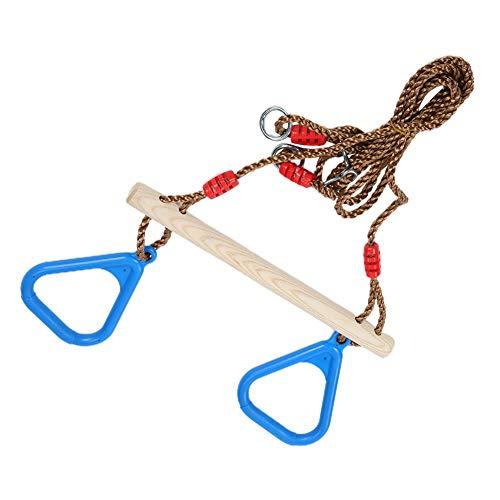 Weikeya Bagues de Traction des Enfants de Routine, bagues de Gymnastique en Bois de 1,2 à 1,9 m roulement de Charge avec Barre de Bois et Plastique