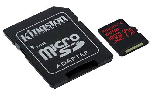 Kingston MicroSD Canvas React SDCR 64GB klasse 10 Speicherkarte mit Adapter, Ideal für Serienaufnahmen und 4K Video