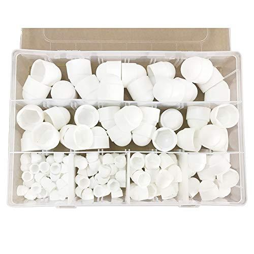 Juego de 145 tuercas de cúpula, plástico, varias tuercas de cúpula hexagonales, tapa protectora, con caja de almacenamiento, M4, M5, M6, M8, M10 y M12, color negro, Blanco
