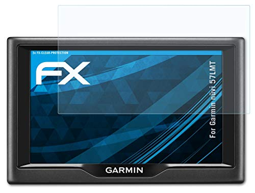 atFoliX Schutzfolie kompatibel mit Garmin nüvi 57LMT Folie, ultraklare FX Displayschutzfolie (3X)
