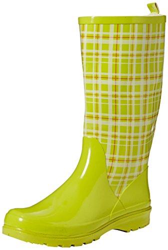 Playshoes Damen Gummistiefel, trendiger Regenstiefel aus Naturkautschuk, mit herausnehmbarer Innensohle, mit Karo-Muster, Grün (Grün 29), 39 EU