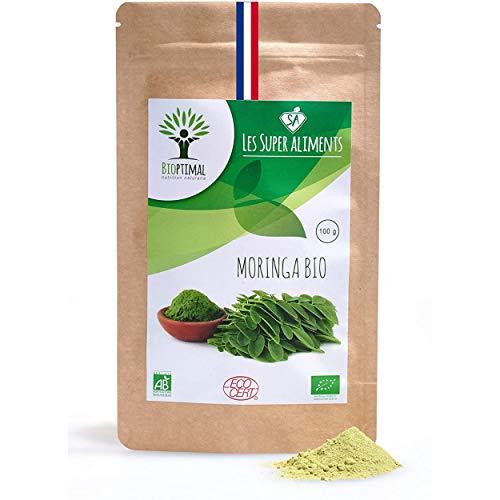 Moringa bio | 100g en poudre | Complément alimentaire | Vitamine C Antioxydant Antibactérien | Bioptimal - nutrition naturelle | Conditionnée, Contrôlée et Analysée en France | Certifié par Ecocert
