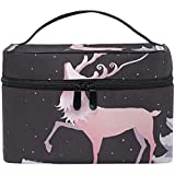 Bolsa de cosméticos de viaje Hermosa bolsa de maquillaje de tocador de luna de ciervo Bolsa de bolsa de tren Organizador de almacenamiento para mujeres Niñas