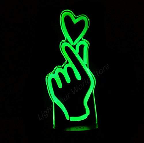 Langue des signes Love You 3D Night Light 7 Changement de couleur Heart LED Desk Light Living Bed Room Wedding Party Atmosphere Lamp
