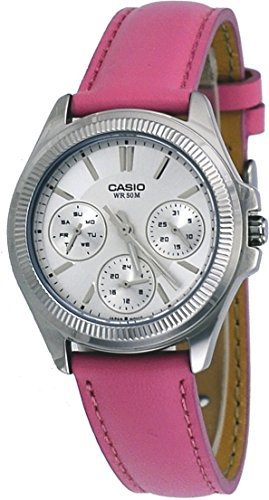 Casio LTP2088L-4AV Women's Fluted Bezel Pink Leather Band Multifunction Watch
