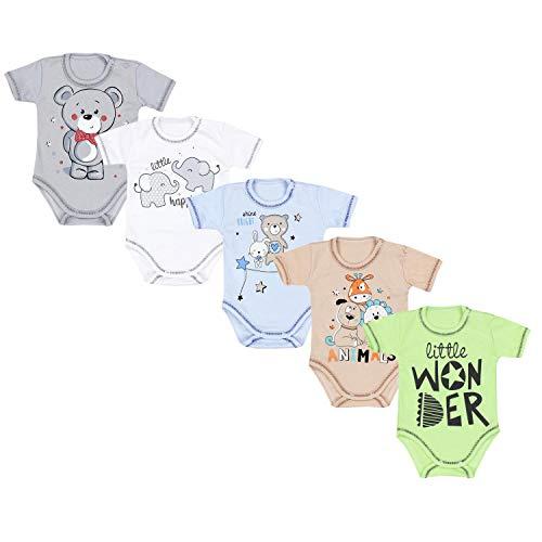 TupTam Unisex Baby Kurzarm-Body mit Aufdruck Spruch 5er Set, Farbe: Junge 3, Größe: 56