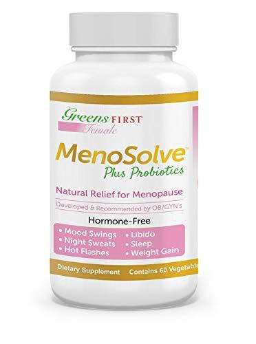 Greens First Female MenoSolve Plus Probiotics, Natural Relief for Menopause, 60 Capsules