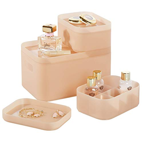 mDesign Juego de 3 organizadores de baño – Cajas para maquillaje redondeadas para almacenamiento de cosméticos – Cajas de plástico apilables con tapa para perfumes o joyas – rosa