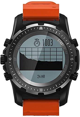 hwbq Reloj inteligente para mujeres y hombres, ABC, altímetro, barómetro, brújula, GPS, monitor de salud, podómetros, para caminar, actividad deportiva, color naranja