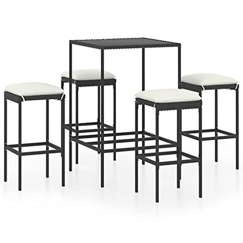 vidaXL Set da giardino da 5 pezzi, con cuscino, tavolino da bar e bancone, tavolo da bar, sgabelli da bar in polyrattan nero