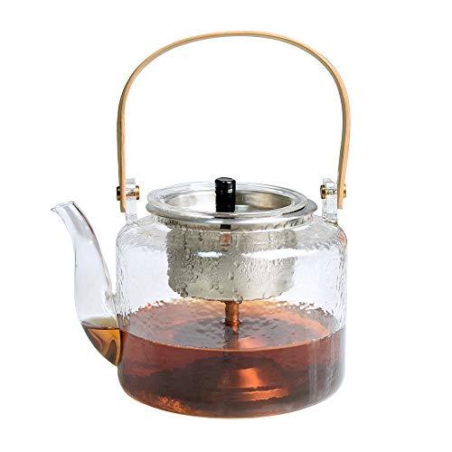 Tetera de cristal con infusor y filtro para cafes de hojas sueltas y te floreciente (1000 ml)