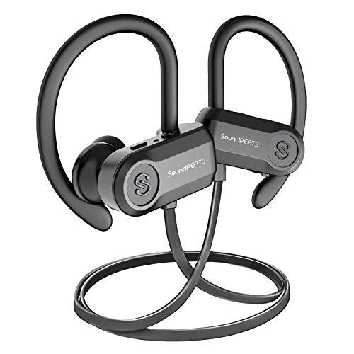 SoundPEATS(サウンドピーツ) SporFi Bluetooth イヤホンBluetooth 5.0 IPX6防水 高音質 12.5MMドライバー搭載 耳掛け式&スポーツに最適 10時間連続再生可能 防塵防汗 マグネット搭載 イヤレス ワイヤレスイヤホン ブルートゥース イヤホン Bluetooth ヘッドホン [メーカー1年保証] ブラック