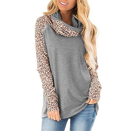 ZHUQI Women Blouse Ladies T-Shirt Elegant and Comfortable Oversize Long-Sleeve Leopard Print Patchwork Ladies Blouse Autumn New Soft Fabric Ladies T-Shirt Suitable for Everyday Wear C-Gray S