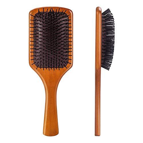 Masthome Bambus Haarbürste Quadratisch Antistatisch Wildschweinborste Paddle Langhaar Bürste mit Griff Professionelle Bambus Stylingbürste zur Haarentwirrung und Detangling