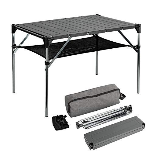 MEICHEPRO アウトドアテーブル 折り畳み式 超軽量 重さ1.6kg キャンプ テーブル アルミ製 ロールテーブル 組立簡単 耐荷重40kg 耐熱200度 収納袋付き