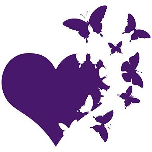 Heart with Butterflies Flying Away Vinyl Decal Sticker Car Window Bumper Die Cut 6-Inches Premium Quality UV Resistant Laminate (6-Inches, Purple) JMM00265PRPL6 Decal Stickers For Cars