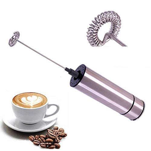 Melkopschuimer, handbediende elektrische schuimmaker op batterijen, roestvrijstalen garde, voor koffie, latte, cappuccino, warme chocolademelk (batterij niet inbegrepen)