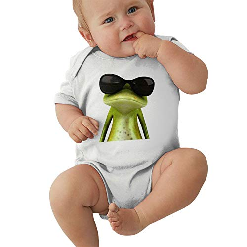 Frog with Sunglasses Baby Boys Pijama Unisex Romper Baby Girls Body Infant Kawaii Jumpsuit Outfit 0-2t Niños,Blanca,18 Meses