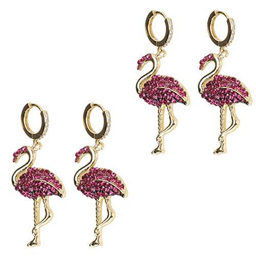 2 pares de pendientes colgantes de diamantes Flamingo colgantes colgantes de moda para todo partido Decoración de orejas para mujeres y niñas