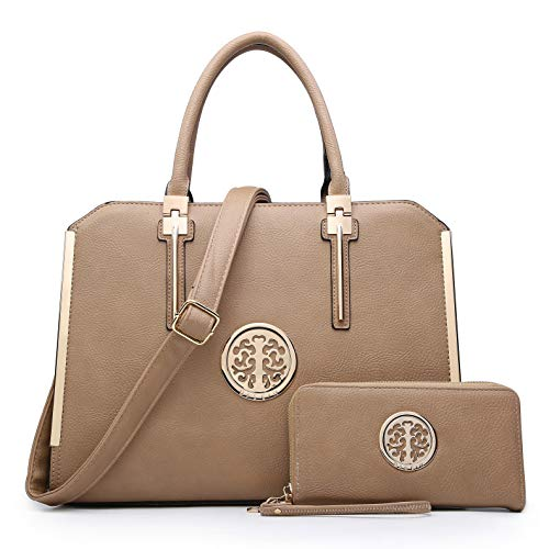 DASEIN Women Large Satchel Handbag Shoulder Purse Top handle Work Bag Tote With Matching Wallet (Dark Beige)