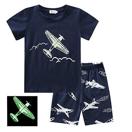SUNVIR Pijamas para Niños Pequeños Que Brillan en la Oscuridad Ropa de Dormir de Avión 100% Algodón Conjuntos Cortos de 2 Piezas para Niños Ropa de Verano para Niños de 2 a 8 Años