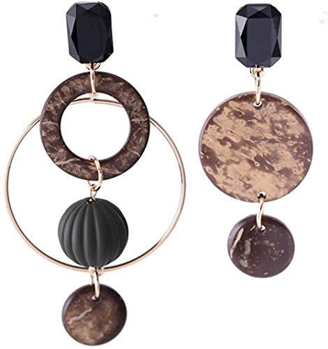 Pendientes Pendientes asimétricos de aro de madera moda exquisita temperamento clásico popular estilo largo persona exagerada