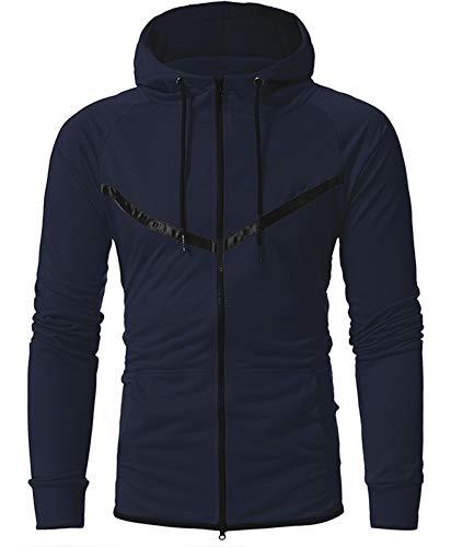 Mr.1991INC&Miss.GO Casual Men's Sportswear Korean Zipper Cardigan Hooded Sweater Jacket Navy Blue