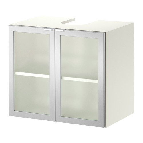 IKEA LILLÅNGEN - Mueble bajo Lavabo w 2 puertas, blanco, aluminio - 60x38x51 cm
