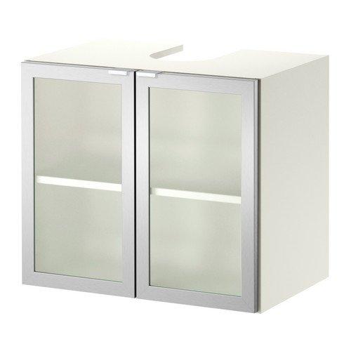 Ikea LILLANGEN -wastafel -onderkast 2 deuren w wit aluminium - 60x38x51 cm