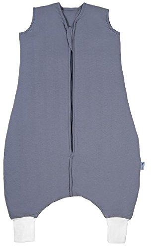 Schlummersack PREMIUM Schlafsack mit Füßen für den Sommer leicht gefüttert in 1.0 Tog - Anthrazit - 80cm mit Druckknöpfen an den Beinen für eine Körpergröße von 80-90 cm