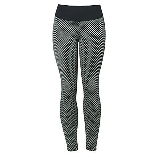 CENPENYA Leggings De Nido De Abeja para Mujer Pantalones De Yoga Sexys De Cintura Alta Medias De Cadera De Cintura Alta para Celulitis Pantalones (L,Gris Oscuro)
