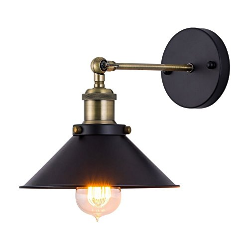 Vintage Wall Light, JIGUOOR Industrial Indoor 240° Adjustable Wall Light Shade, E27 Base Black Retro Rustic Vintage Wall Lights Fixture for Living Room Bedrooms Bathroom (1 Pack, No Bulb)