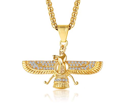 VNOX Gold Plated Stainless Steel Rhinestone Farvahar Eagle Symbol Pendant Necklace Iran Persian Religious Jewellery for Men Boys,60cm Free Chain
