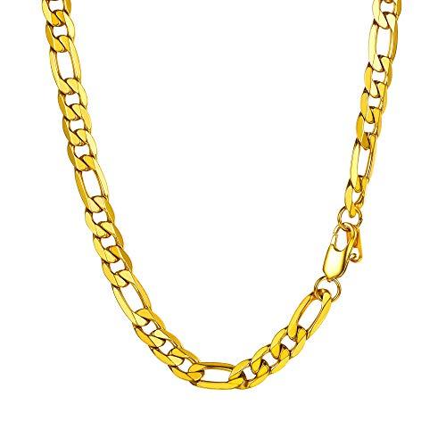 PROSTEEL Herren glänzend Halskette 9mm breit 1+3 Figarokette 76cm/30 Lange Kette 18k vergoldet massiv Gliederkette für Männer Jungen Hip Hop Rapper Modeschmuck Accessoire